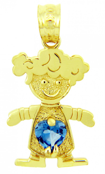 CZ Aquamarine March Girl Birthstone Charm