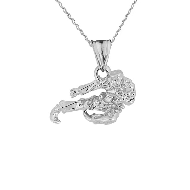 Solid White Gold Martial Arts Karate Pendant Necklace