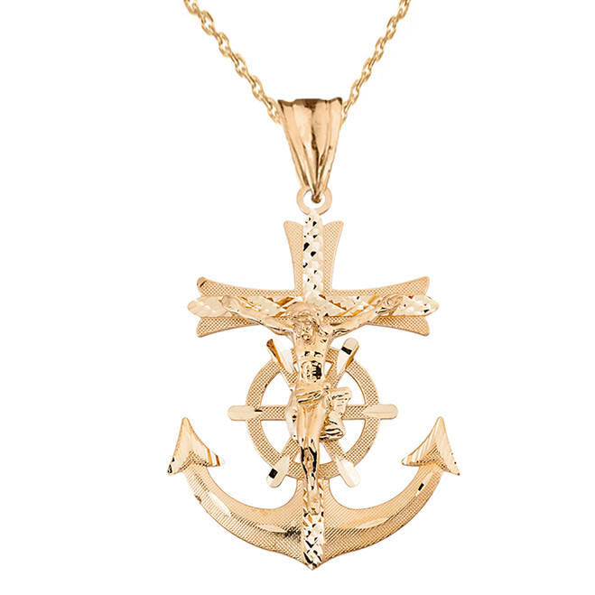 Mariners Anchor Crucifix Pendant Necklace in Solid Yellow Gold