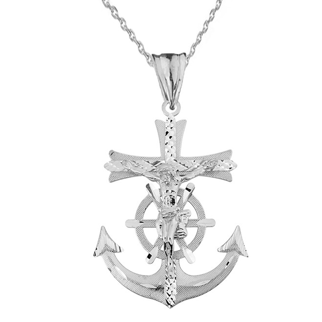 Mariners Anchor Crucifix Pendant Necklace in Solid White Gold