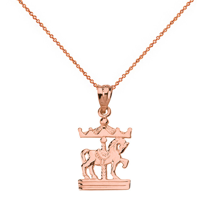 Solid Rose Gold Horse Carousel Pendant Necklace