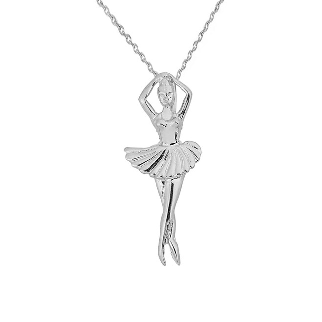 Solid White Gold Ballerina Dancer Pendant Necklace