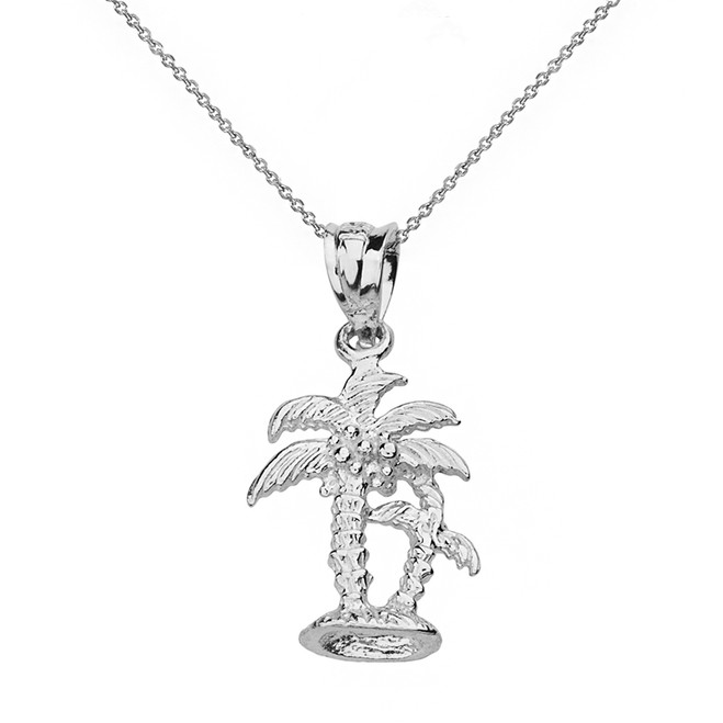 Sterling Silver Texture Double Palm Trees Pendant Necklace