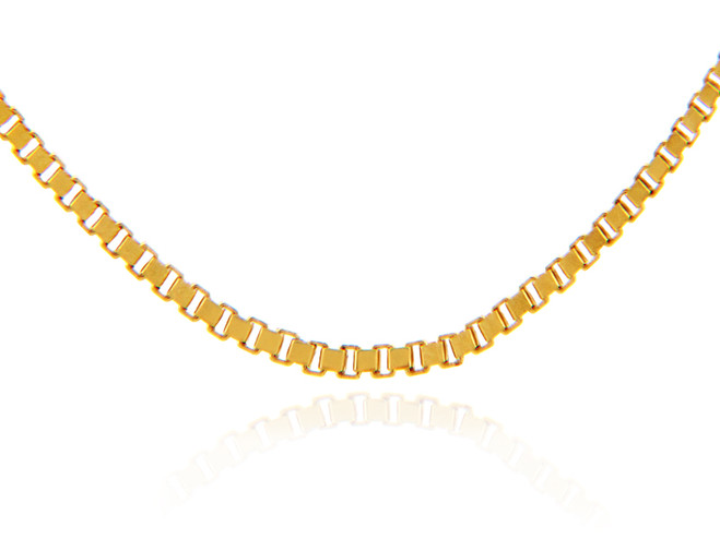 Gold Chains: Box Link Yellow Gold Chain 1_15mm