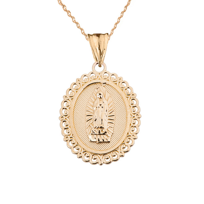 Saint Mary Pendant Necklace in Yellow Gold