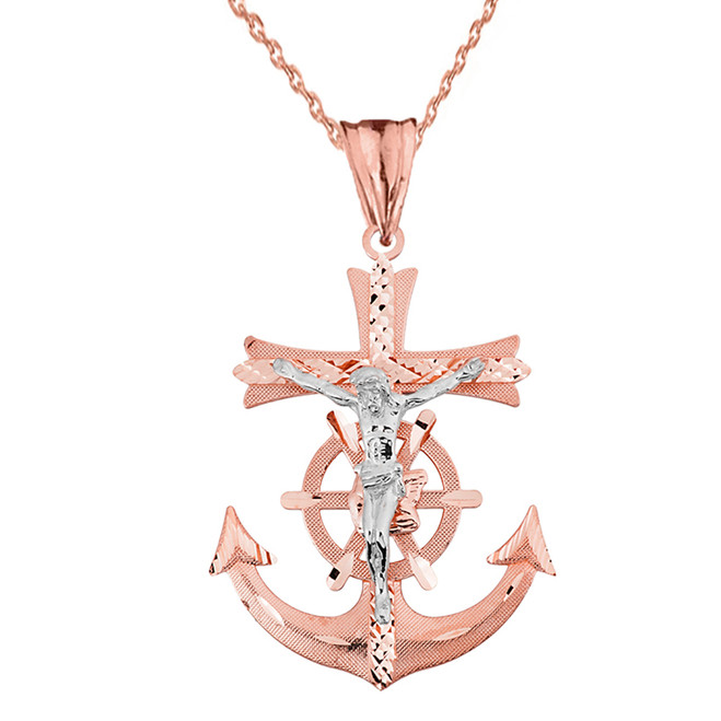 Mariners Anchor Crucifix Pendant Necklace in Solid Rose Gold