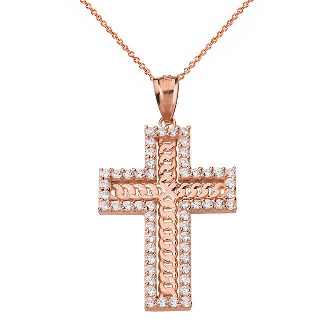 Solid Rose Gold Cubic Zirconia Cubic Link Chain Cross Pendant Necklace
