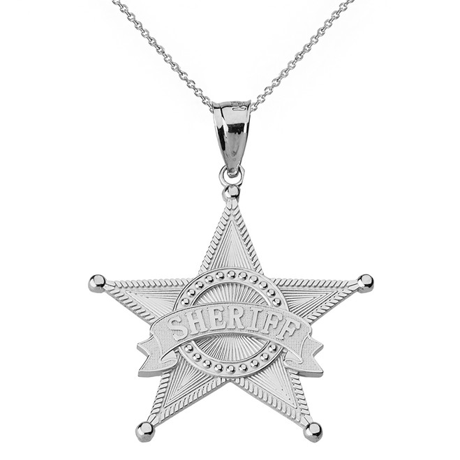 Solid White Gold Textured Sheriff Badge Star Pendant Necklace