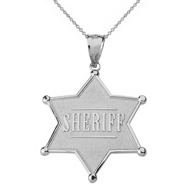 Solid White Gold Sheriff Badge 6 Point Star Pendant Necklace