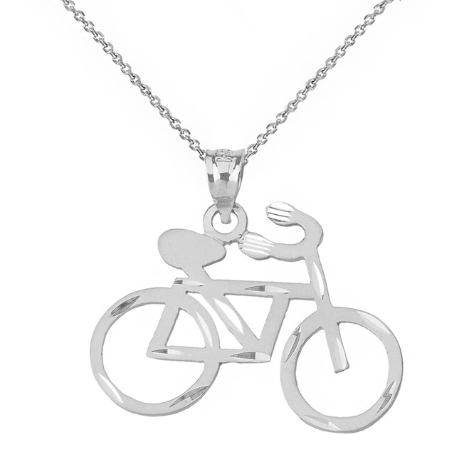 Yellow gold bicycle pendant necklace solid white gold sparkle cut bicycle pendant necklace aloadofball Gallery
