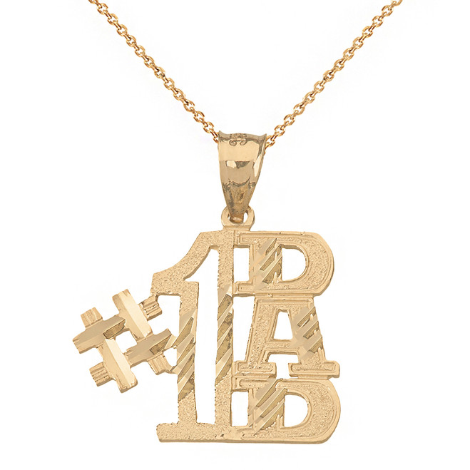 Solid Yellow Gold Sparkle Cut Number One Dad Pendant Necklace