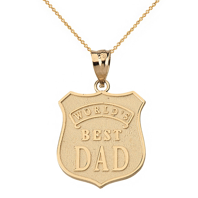 Solid Yellow Gold Matte and Shiny World's Best Dad Badge Pendant Necklace