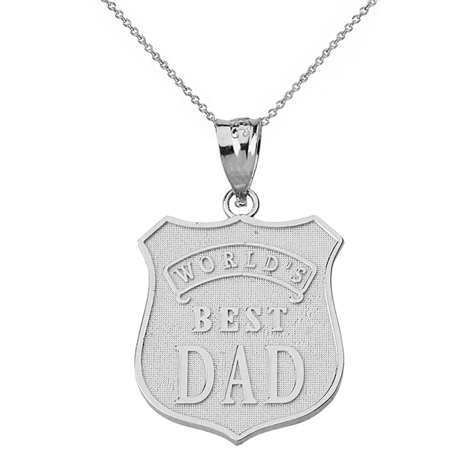 Sterling Silver Matte and Shiny World's Best Dad Badge Pendant Necklace