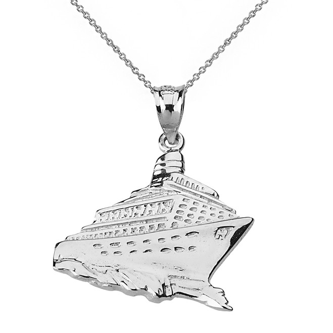 Solid Genuine White Gold Cruise Ship Ocean Liner Pendant Necklace