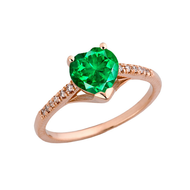 Emerald (LCE) & Diamond Engagement and Proposal Ring in Rose Gold