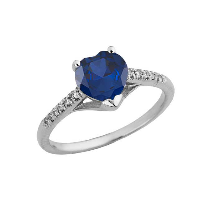 Sapphire (LCS) & Diamond Engagement and Proposal Ring in White Gold