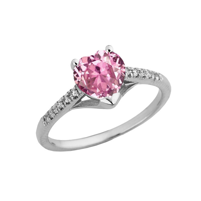 Pink Cubic Zirconia & Diamond Engagement and Proposal Ring in White Gold