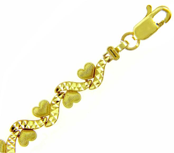 Yellow Gold Bracelet - The Mini Hearts Bracelet