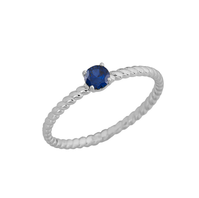 Genuine Sapphire  Stackable Rope Ring in White  Gold