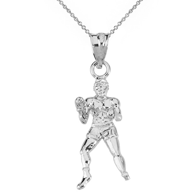 Solid White Gold Fight Sports Athletic Boxing Pendant Necklace