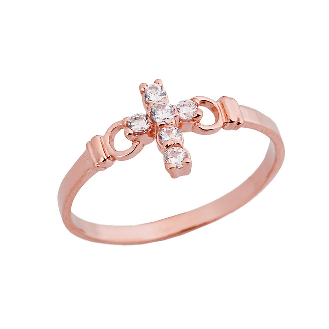Ladies Purity Cross Ring With CZ In Rose Gold