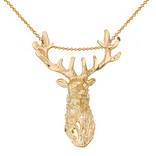 Solid Yellow Gold Stag Deer Head Pendant Necklace