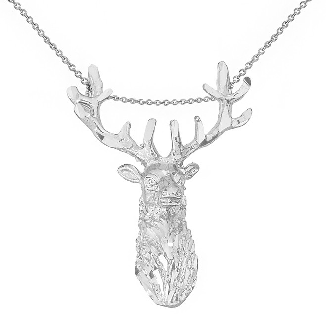 Solid White Gold Stag Deer Head Pendant Necklace