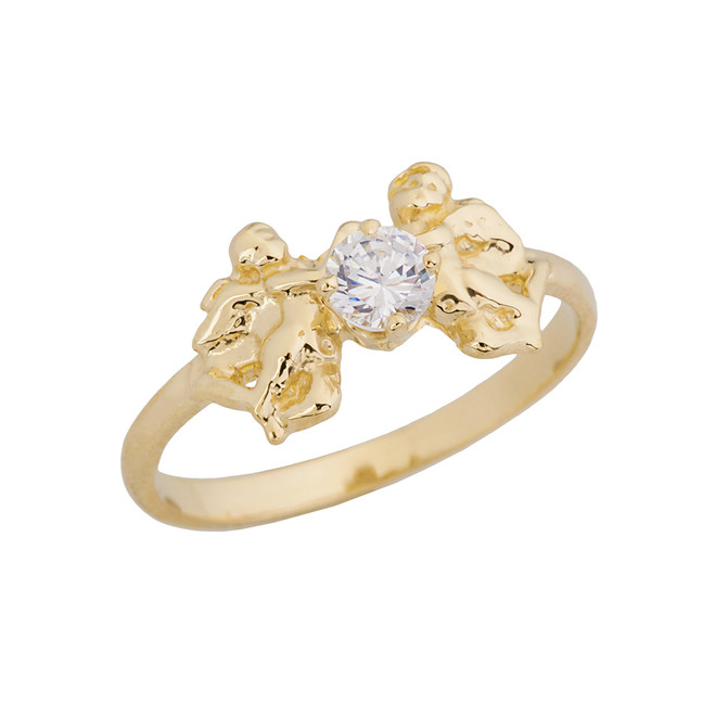 Two Cupid Angels Ring In Yellow Gold