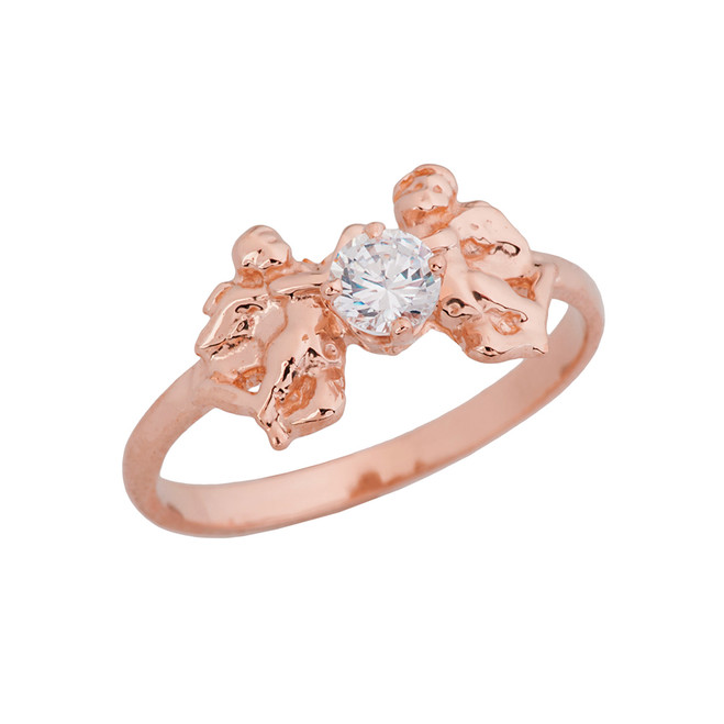 Two Cupid Angels Ring In Rose  Gold