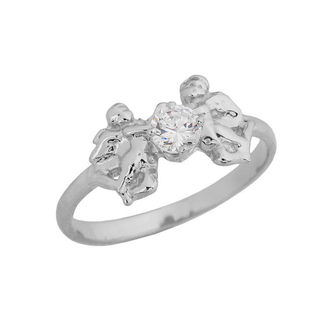 Two Cupid Angels Ring In White  Gold