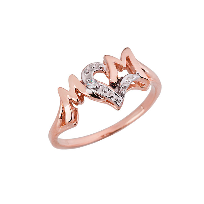 Chic 'MOM' Heart Diamond Ring in Solid Rose Gold