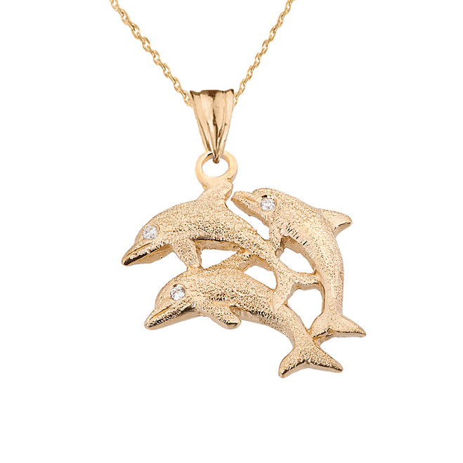 Textured Yellow Gold Three Diamond Dolphins Pendant Necklace