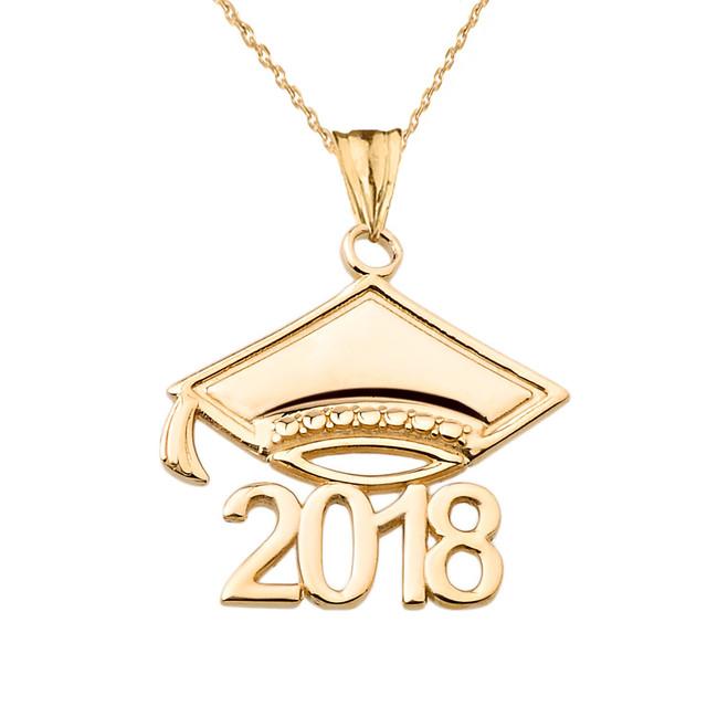 Yellow Gold Class of 2018 Graduation Cap Pendant Necklace