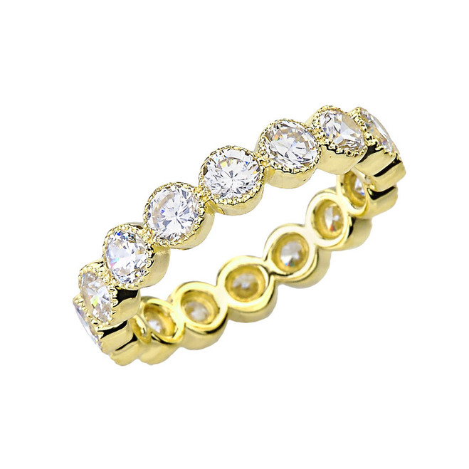 Chic Cubic Zirconia Eternity Band in Yellow Gold