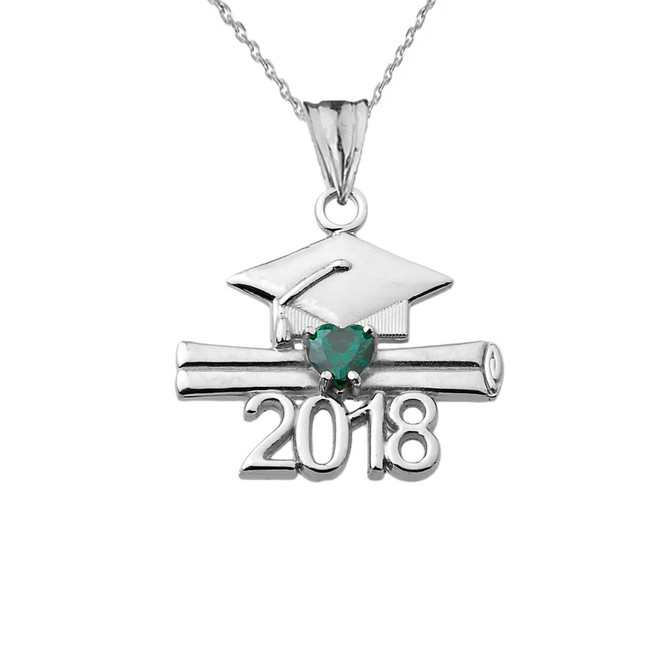 Class of 2018 Graduation Birthstone CZ Pendant Necklace in White Gold