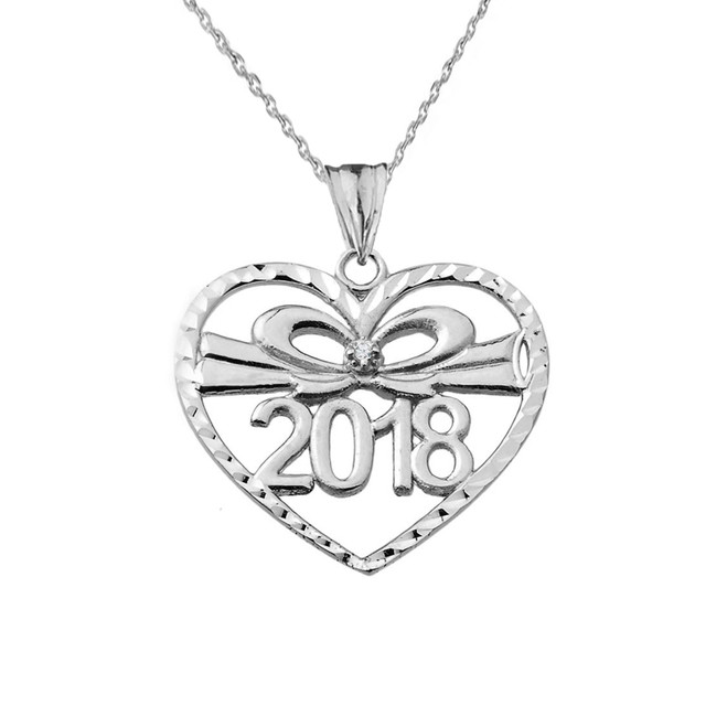 Diamond 2018 Graduation heart Pendant Necklace In White  Gold