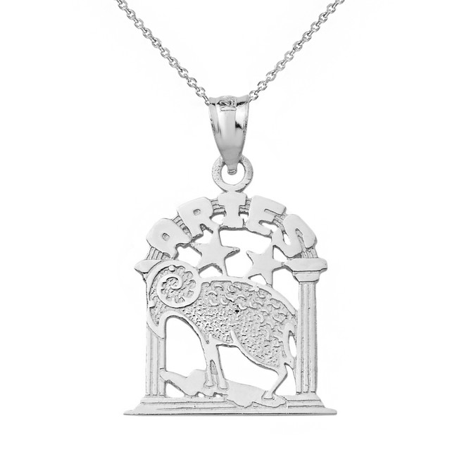 Solid White Gold Zodiac Aries Pendant Necklace