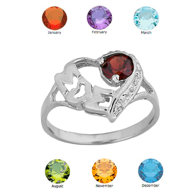 "White Gold Personalized ""Mom"" Solitaire Open Heart Ring With Genuine Gemstone"