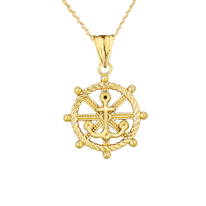 Anchor with Roped Helm in Yellow Gold