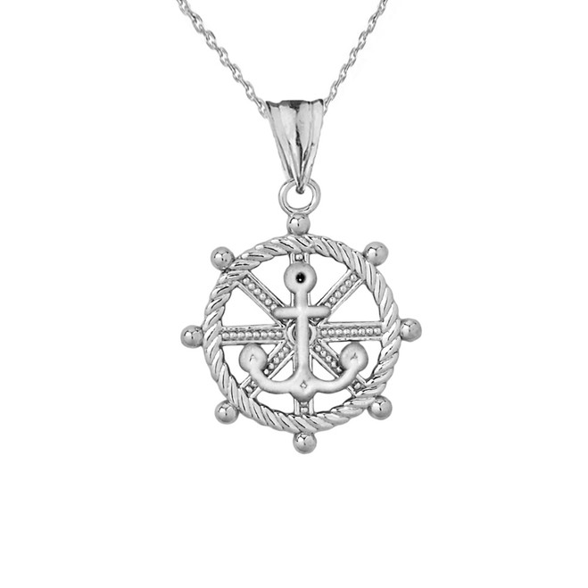Anchor with Roped Helm in Sterling Silver