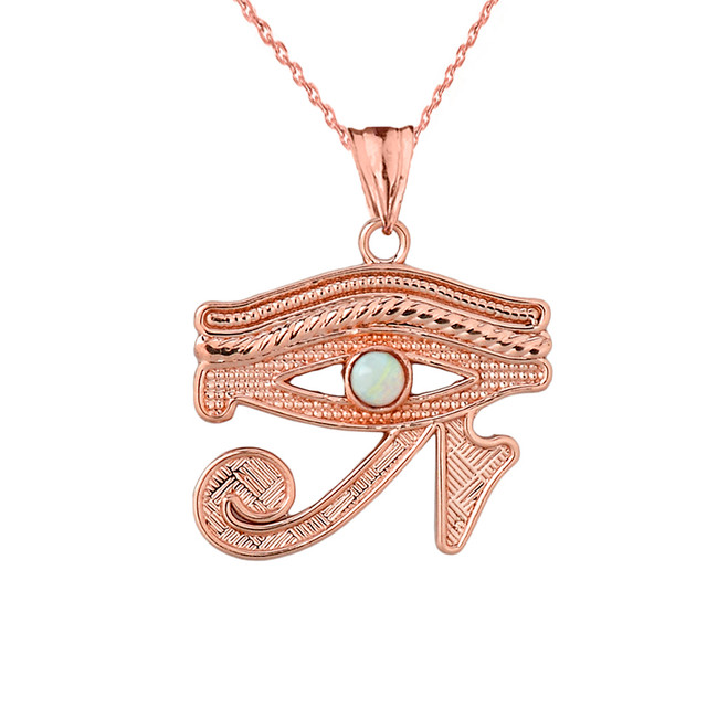 Eye of Horus (Ra) with Opal Center Stone Pendant Necklace in Rose Gold