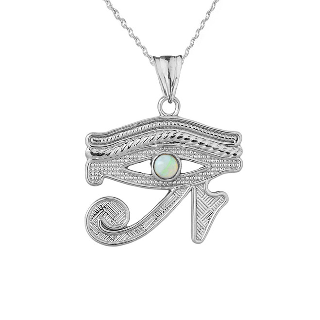 Eye of Horus (Ra) with Opal Center Stone Pendant Necklace in White Gold