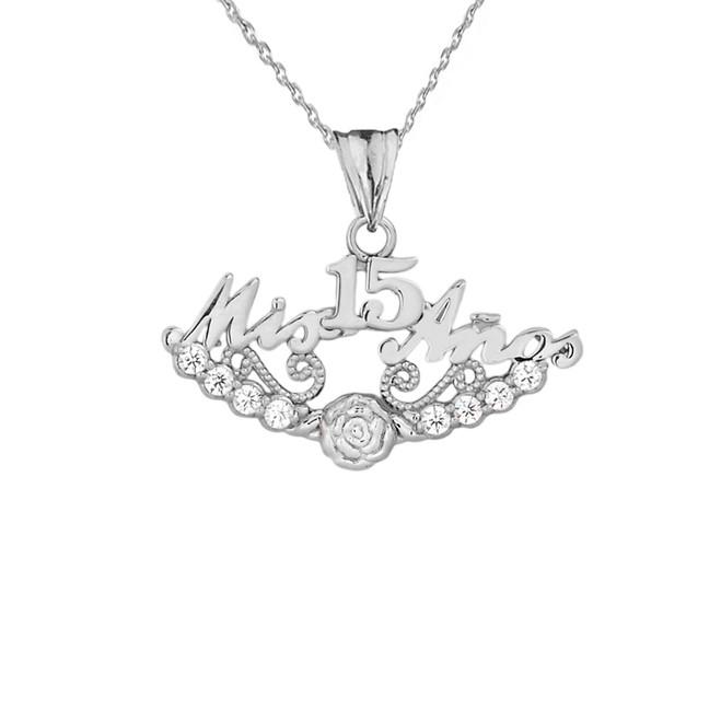"""""""Mis 15 Años"""" Quinceañera Pendant Necklace in Sterling Silver"""