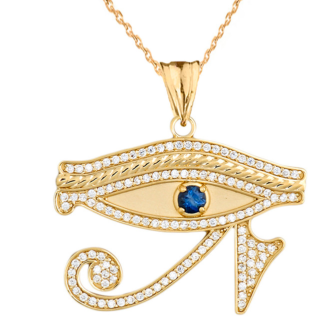 Eye of horus yellow gold turquoise pendant necklace diamond eye of horus with genuine blue sapphire pendant necklace in yellow gold mozeypictures Image collections