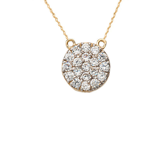 14K Mini Diamond Disc Necklace in Yellow Gold
