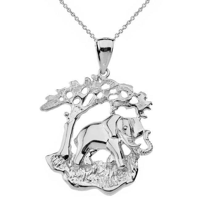 White gold elephant charm pendant solid white gold elephant tree of life pendant necklace aloadofball Images