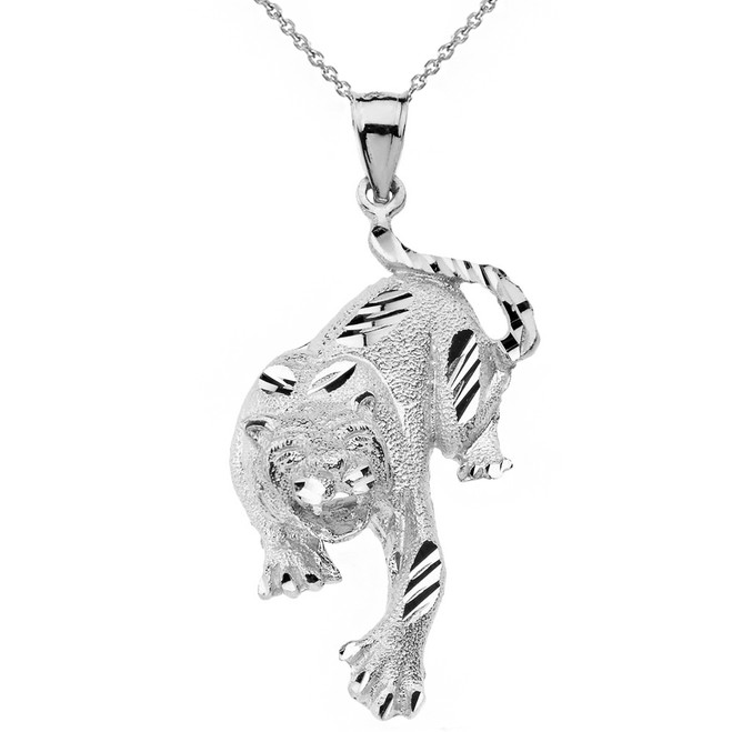Solid White Gold Sparkle Cut Tiger Pendant Necklace