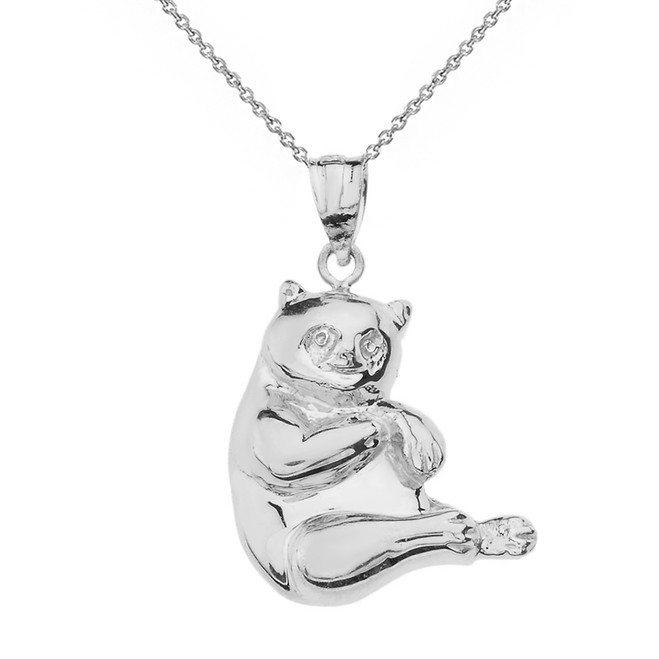 Solid White Gold Panda Pendant Necklace