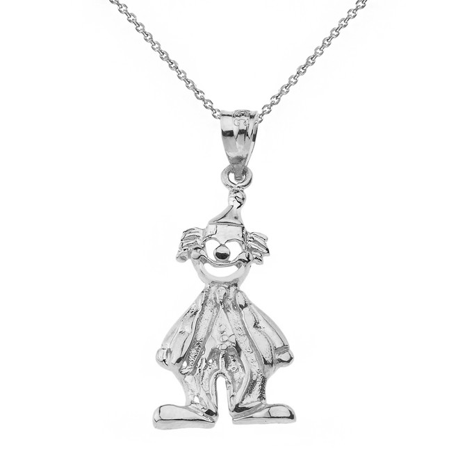 Solid White Gold Auguste Clown Pendant Necklace