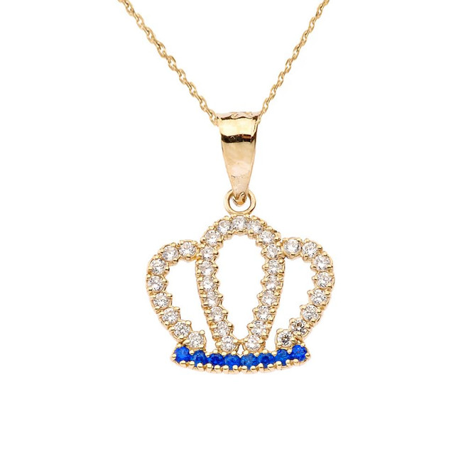 Radiant Diamond & Sapphire Solid Yellow Gold Crown Pendant Necklace